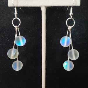 Mermaid glass silver dangle earrings